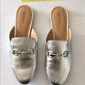 Silver Medina Mule Shoes with Metal Detail 7.5